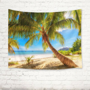 Seychelles Beautiful Tropical Beach Palm Tree Tapestry Wall Hanging Bedroom Dorm