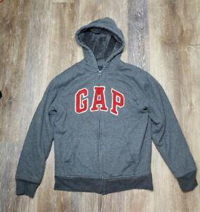 Gap Kids Boys Hoodie Zip Up Jacket Faux Fur Lined Sweatshirt XXL (14-16) Gray