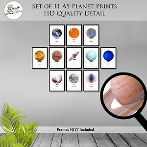 Planet Prints Set of 11 Solar System Space Universe Earth Print Wall Art A5