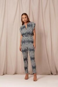 Steele Size S The Lidy Boilersuit Cotton Grey White Print Jumpsuit RRP$289 *Flaw