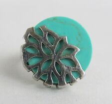 Vintage Sterling Silver Turquoise Size 7 1/4 Ring - Unique Setting and Nice!