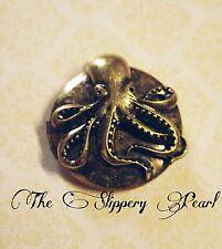 Octopus Locket Round Brass Locket Ocean Pendant Antiqued Bronze Nautical Kraken