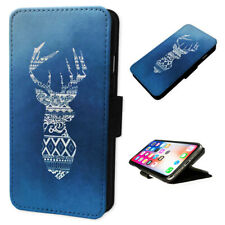 Aztec Stag Art Blue - Flip Phone Case Wallet Cover Fits Iphone 5 6 7 8 X 11
