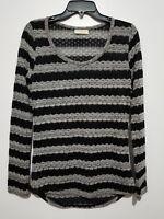 Bobbie Brooks Sweater L large Long Sleeve Striped Black Grey - BIN1