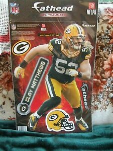 """Clay Matthews Fathead, 11.5"""" wide and 17"""" tall, new in package Green Bay Packers"""