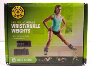 Gold's Gym 5 lb (2 x 2.5lb) Pair Adjustable Ankle Weights Wrist Arm Leg