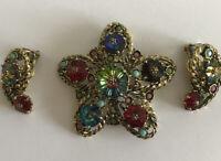 Vtg Multi Color Rhinestone Gold tone Star Flower Paisley Brooch Pin Earrings