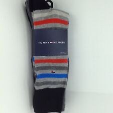 Men's TOMMY HILFIGER Gray Striped 73% COTTON Dress Socks -4 Pack- $36 MSRP