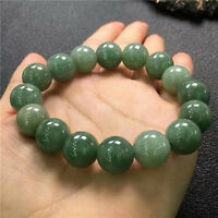 Natural green apple color  jade agate round big beads Men bracelet 13.8mm AAA