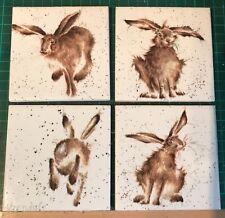 Set of 4 Handmade ceramic coasters Hares