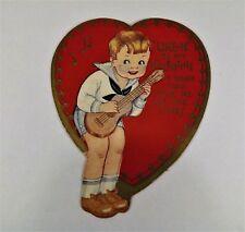 "Vintage 1940's Valentine Card Boy Playing Ukelele Sailor Shirt 3 1/2"" x 2 3/4"""""