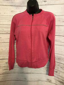 Bill Blass Sport Women's Pink Athletic Cotton Blend Full Zip Jacket Size PM