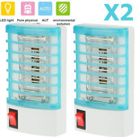 2X Electric LED Mosquito Fly Bug Insect Trap Zapper Killer Night Light Lamp NEW