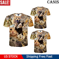 Funny Cat Kitten 3D Print Men Women Casual T-Shirt Short Sleeve Graphic Tee Tops
