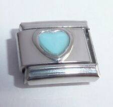BLUE LOVE HEART Italian Charm - 9mm December Birthstone fits Classic Bracelets
