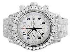 Custom Mens Breitling A13370 Super Avenger XL 52MM S.Steel with Diamonds 31.5 Ct