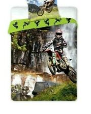 Motocross Motorbike Children Boys Bedding Duvet Cover Set 100% Cotton Single