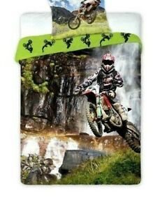 Motocross Motorbike Children Boys Bedding Duvet Cover Set 100% Cotton Single