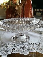 Vintage Beautiful  Bowl Centerpiece Pedestal  Heavy Rollover Turnover Edge.