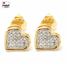 NEW Men's & Women' Brass 14K Gold Plated CZ Caved Heart Screw Back Earring 920 G