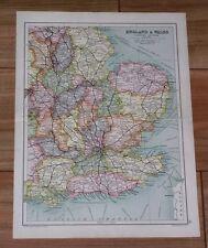 1909 ORIGINAL ANTIQUE MAP OF EASTERN ENGLAND LONDON