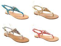 WOMENS DIAMANTE JEWEL TOE POST SUMMER BEACH FLAT SANDALS LADIES UK SIZE 3-8