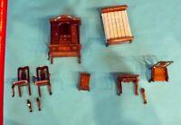 Lot d'accessoires en bois à restaurer de dinette mobiliers de poupée vintage