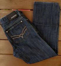 Affliction Ace Slim Straight Mens Jeans 34 x 31 Dark Wrinkle Rinse Button Fly
