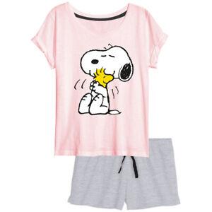 Peanuts  Snoopy 2 tlg. Schlafanzug  Pyjama Shorty Größen: S (36/38) - XL (48/50)