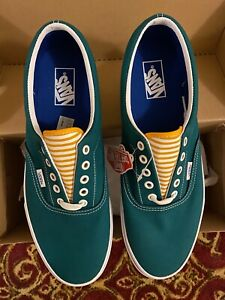 Vans J. Crew Classic Canvas Lace Sneakers Deck Shoes Quetzal Green w/ White Sole