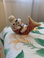 Chinese Porcelain Snuff Bottle~Child On Koi Fish ~
