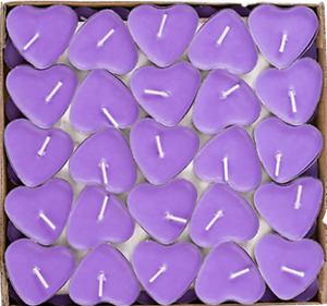 VALENTINES DAY DECORATION DECOR 50 PACK PURPLE HEART CANDLES LOVE HEARTS CANDLE