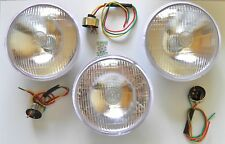 """3 X 7""""  LUCAS REPRODUCTION HEADLAMPS & BULB HOLDER FOR VINTAGE CARS & MOTORBIKES"""