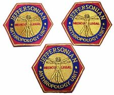 Bones Jefferson Anthropology Unit Show Round Embroidered Iron on Patch Set of 3