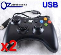 2 X Xbox 360 Black Wired Game Pad Controller For Microsoft XBOX 360 USB FREE SHP