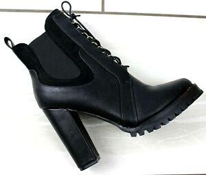 Women Black Chelsea Ankle Boots Block High Heels Shoes Zip / Lace Up Booties 3-8