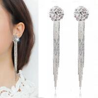 Fashion Women Long Tassel Leaves Crystal Ear Stud Drop Earrings Jewelry