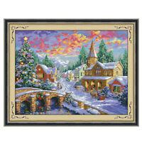 Winter Village Stamped Cross Stitch Kit Wedding Christmas Gift 11CT 67x52cm