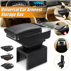Universal Rotatable Car Center Armrest Console Storage Organizer Cup Holder