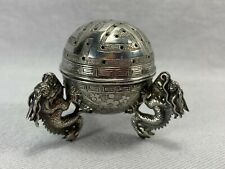 19th Century Chinese Export Silver Incense Holder Box Three Dragon Feet SignedNR