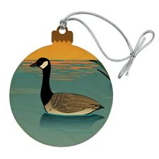 Canadian Goose Geese Swimming Canada Wood Christmas Tree Holiday Ornament