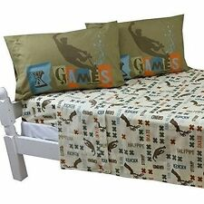 4pc X Games Full Bed Sheet Set - BMX Skateboard Extreme Sports Graphix Bedding