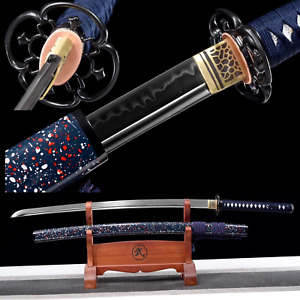 Clay Tempered Battle Ready Japanese Samurai Katana T10 Steel Blade Sword Sharp