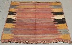 antique Handmade wool tribal art Sirjan Sofreh killim  134cm x 152cm