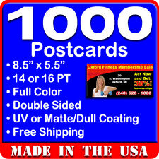 1000 Custom Full Color 8.5x5.5 Postcards w/UV Glossy - Real Printing Free Design