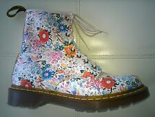 DOC DR MARTENS WHITE LEATHER  FLORAL FLOWER BOOTS RARE 6 UK 39 EU US: WOMEN'S 8