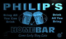 p095-b Philip's Personalized Home Bar Beer Family Name Neon Light Sign