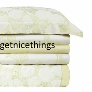 Yves Delorme Queen Duvet Cover Shams 3PC Set Jacquard Foliage Honey Solid Sateen