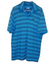 Under Armour Heat Gear Loose Bright Blue striped - Polo-Xl