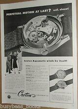 1946 Croton Watch advertisement, Croton Aquamatic, large workings close-up